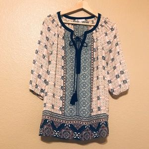DR2 Tunic Damask-Print Tassel Blouse Top